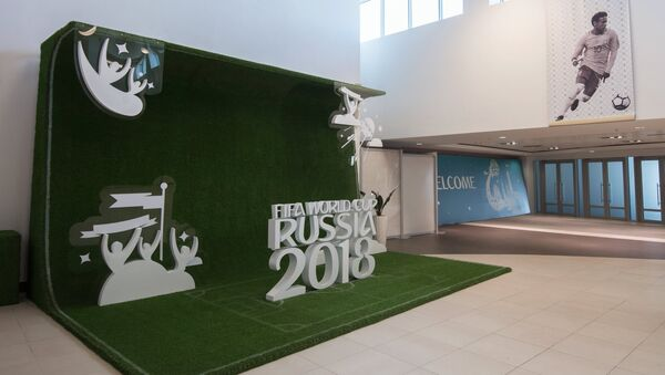 Lobby of Fisht Olympic Stadium in Sochi decorated for the upcoming 2018 FIFA World Cup - Sputnik International