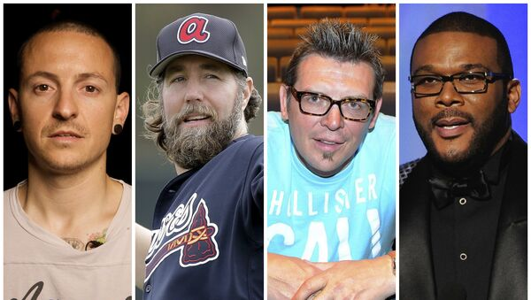 This combination of 2008-2017 photos shows Linkin Park co-lead vocalist Chester Bennington, Atlanta Braves pitcher R.A. Dickey, former NHL star Theo Fleury and film director Tyler Perry. They are among the male celebrities who have disclosed they were victims of sexual abuse - Sputnik International