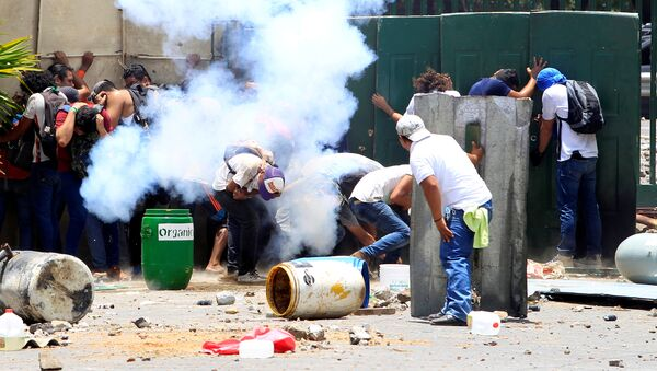 Students from the Universidad Agraria (UNA) public university protest against reforms that implement changes to the pension plans of the Nicaraguan Social Security Institute (INSS) in Managua, Nicaragua April 19, 2018 - Sputnik International