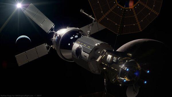 Artist rendition of space station in moon orbit (Lunar Orbital Platform-Gateway, or 'LOP-G') - Sputnik International