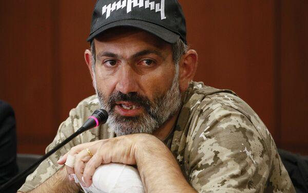 Armenian opposition leader Nikol Pashinyan speaks during a news conference in Yerevan, Armenia April 24, 2018 - Sputnik International