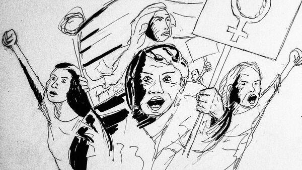 8 mars demonstration, upp till kamp, feminism - Sputnik International