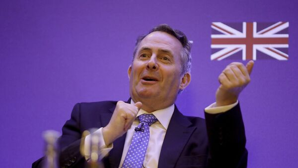 Britain's Secretary of State for International Trade Liam Fox speaks during the plenary session of the UK-India Joint Economic and Trade Committee (JETCO) 2018 at the Institute of Civil Engineers in London, Thursday, Jan. 11, 2018 - Sputnik International
