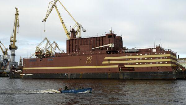 The Akademik Lomonosov floating nuclear power plant is towed from the Baltic Shipyard in St. Petersburg - Sputnik International