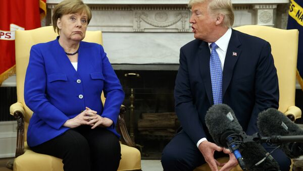 President Donald Trump meets with German Chancellor Angela Merkel in the Oval Office of the White House, Friday, April 27, 2018, in Washington - Sputnik International
