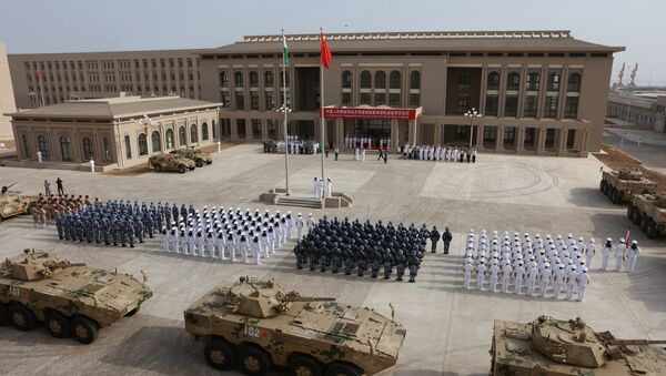 This photo taken on August 1, 2017 shows Chinese People's Liberation Army personnel attending the opening ceremony of China's new military base in Djibouti - Sputnik International