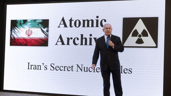 Israeli Prime Minister Benjamin Netanyahu delivers a speech on Iran's nuclear program at the defence ministry in Tel Aviv on April 30, 2018 - Sputnik International