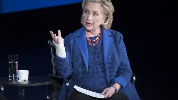 Hillary Clinton speaks during the ninth annual Women in the World Summit, Friday, April 13, 2018, in New York - Sputnik International