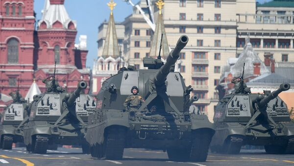 The Self-propelled Artillery Cannons (SPAC)  Koalitsiya-SV  and mamokhodny artillery cannons (SAU) Msta-S on the military parade devoted to the 73rd anniversary of the victory in the Great Patriotic War of 1941-1945 - Sputnik International