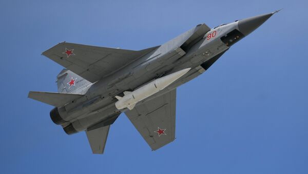 Multi-purpose fighter MiG-31 with the hypersonic Kinzhal rocket on the military parade devoted to the 73rd anniversary of the victory in the Great Patriotic War of 1941-1945 - Sputnik International
