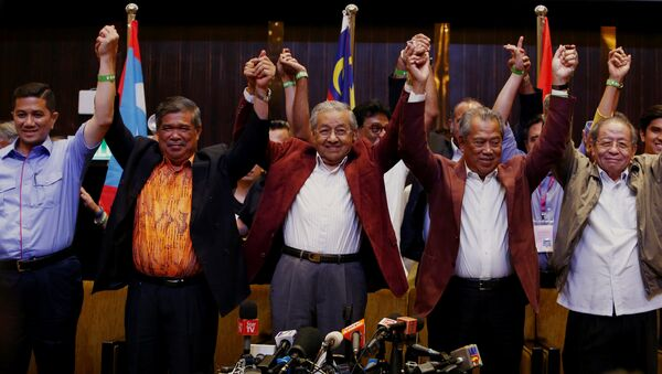 Mahathir Mohamad, former Malaysian prime minister and opposition candidate for Pakatan Harapan (Alliance of Hope) reacts during a news conference after general election, in Petaling Jaya, Malaysia, May 9, 2018 - Sputnik International