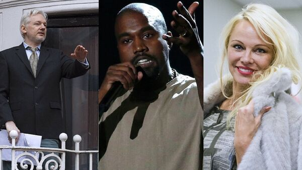 Mashup of photographs of Julian Assange, Kanye West and Pamela Anderson. - Sputnik International