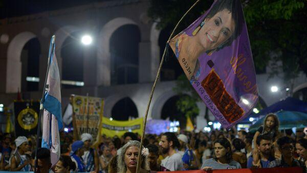 Demonstrators protest about the assassination of Rio de Janeiro city councillor Marielle Franco - Sputnik International