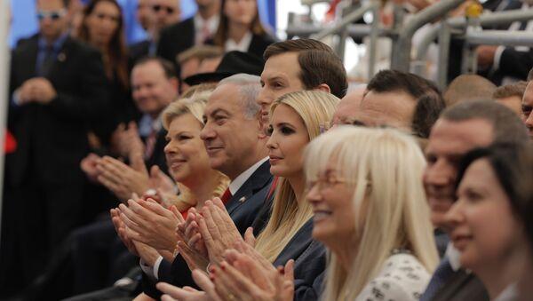 Israel's Prime Minister Benjamin Netanyahu, 2nd left, his wife Sara Netanyahu, left, Senior White House Advisor Jared Kushner, 3rd left, US President's daughter Ivanka Trump, center, US Treasury Secretary Steve Mnuchin, attend the opening ceremony of the new U.S. embassy in Jerusalem, Monday, May 14, 2018 - Sputnik International
