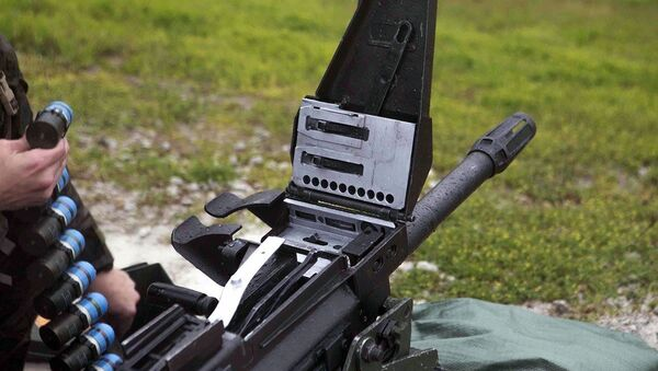 An MK19 machine gun grenade launcher. Officials in North Dakota say a belt of one's ammunition contained in a small box has gone missing. - Sputnik International