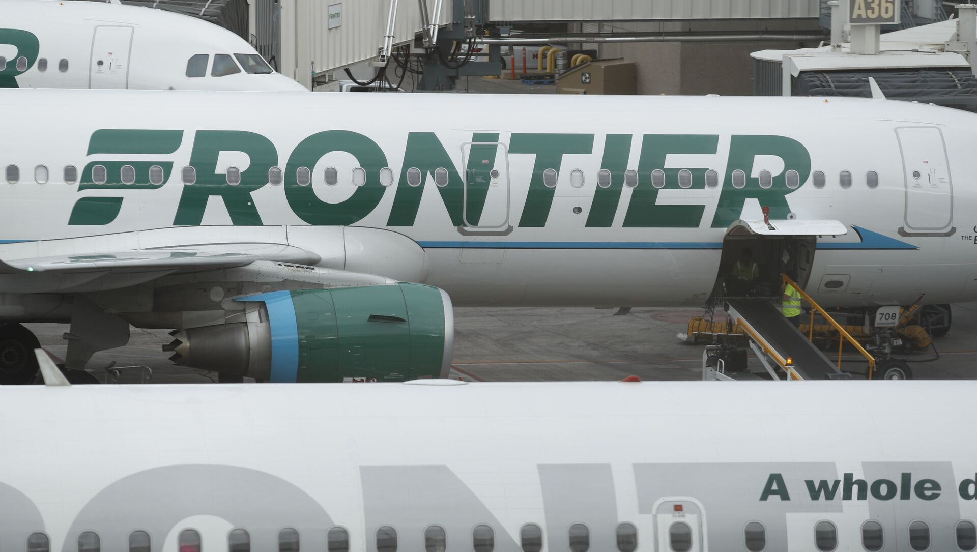 In this Monday, May 15, 2017, photograph, the company logo is showcased on the side of a Frontier Airlines airplane waiting at a gate on Concourse A in Denver International Airport in Denver - Sputnik International, 1920, 04.08.2021
