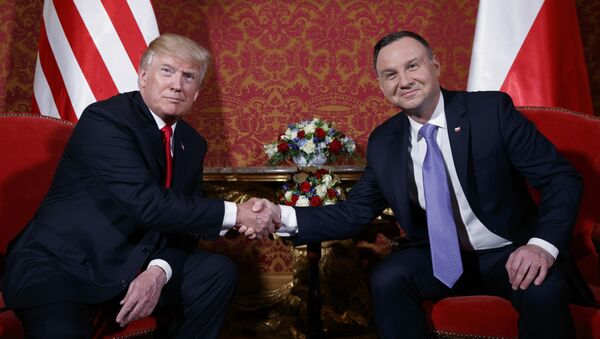 U.S. President Donald Trump, left, and Polish President Andrzej Duda pose for photographers as they shake hands during their meeting at the Royal Castle, Thursday, July 6, 2017, in Warsaw - Sputnik International