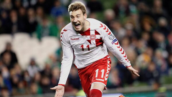 In this Tuesday, Nov. 14, 2017 filer, Denmark's Nicklas Bendtner celebrates after scoring his side's fifth goal during the World Cup qualifying play off second leg soccer match between Ireland and Denmark at the Aviva Stadium in Dublin, Ireland - Sputnik International