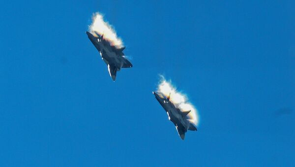 Su-57 fifth generation fighter jets. File photo - Sputnik International