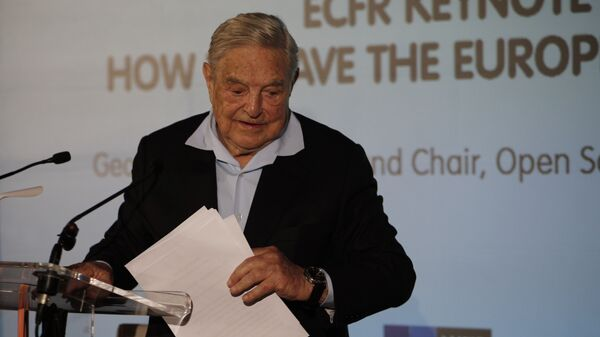 George Soros, Founder and Chairman of the Open Society Foundations leaves after his speech entitled How to save the European Union as he attends the European Council On Foreign Relations Annual Council Meeting in Paris, Tuesday, May 29, 2018 - Sputnik International
