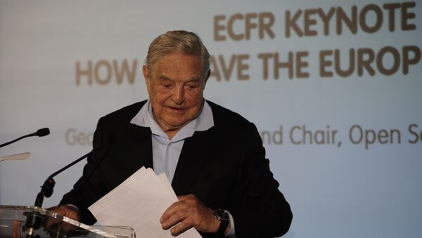 George Soros, Founder and Chairman of the Open Society Foundations, leaves after his speech entitled How to save the European Union as he attends the European Council On Foreign Relations' Annual Council Meeting in Paris, Tuesday, 29 May 2018 - Sputnik International