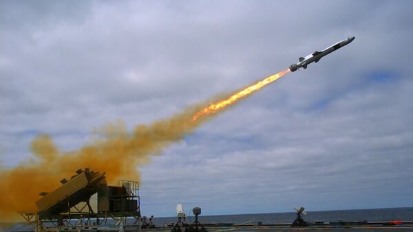 A Kongsberg Naval Strike Missile (NSM) is launched from the U.S. Navy littoral combat ship USS Coronado (File) - Sputnik International