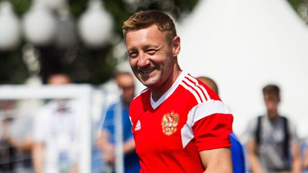 Russia's Andrey Tikhonov smiles before a friendly match between Russia Legends and FIFA Legends at the World Cup football park in Kaliningrad, Russia, on Sunday, June 3, 2018 - Sputnik International