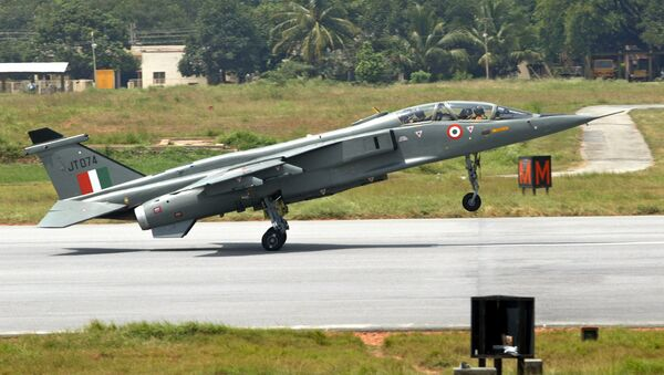 (File) A Jaguar strike aircraft touches down at the Hindustan Aeronautics Limited (HAL) airport in Bangalore, India, Friday, July 15, 2005 - Sputnik International