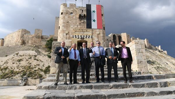 Member of the European Parliament from Germany's National Democratic Party Udo Voigt (2nd-L) visits the Citadel of Aleppo on June 4, 2018 - Sputnik International