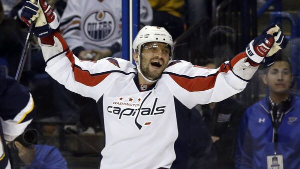 In this Saturday, April 9, 2016 file photo, Washington Capitals' Alex Ovechkin, of Russia, celebrates after scoring his third goal of an NHL hockey game during the third period against the St. Louis Blues in St. Louis - Sputnik International