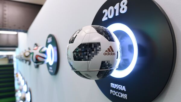 The official ball of the World Cup 2018 Telstar 18 at the exhibition of the FIFA world football museum in the gallery Hyundai Motorstudio in Moscow. - Sputnik International