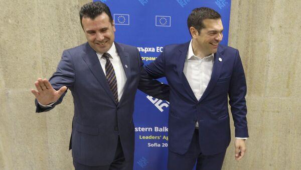 Greek Prime Minister Alexis Tsipras meets with Macedonian Prime Minister Zoran Zaev at the EU-Western Balkans Summit in Sofia, Bulgaria, May 17, 2018 - Sputnik International