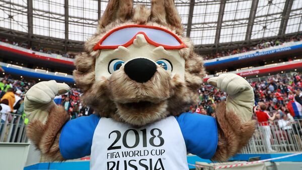The official mascot of the FIFA World Cup 2018 wolf Zabivaka during the break of the match of the group stage of the World Cup between Russian and Saudi Arabian national teams - Sputnik International