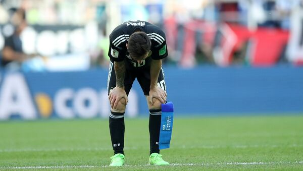 Soccer Football - World Cup - Group D - Argentina vs Iceland - Spartak Stadium, Moscow, Russia - June 16, 2018 Argentina's Lionel Messi looks dejected after the match - Sputnik International