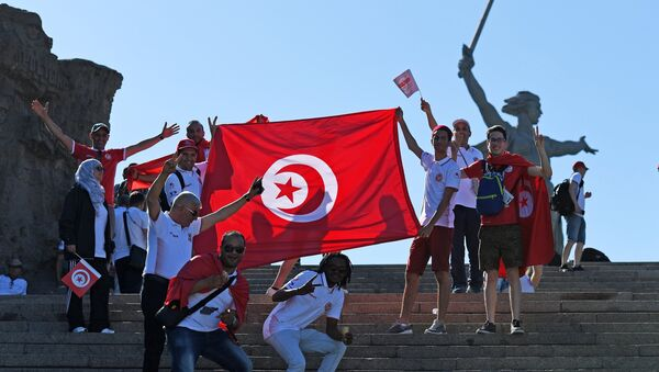 Fans before World Cup 2018 soccer match between the national teams of Tunisia and England - Sputnik International