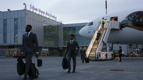 Soccer Football - FIFA World Cup - Saudi Arabia Arrival - Pulkovo Airport, Saint Petersburg, Russia - June 9, 2018 - Sputnik International