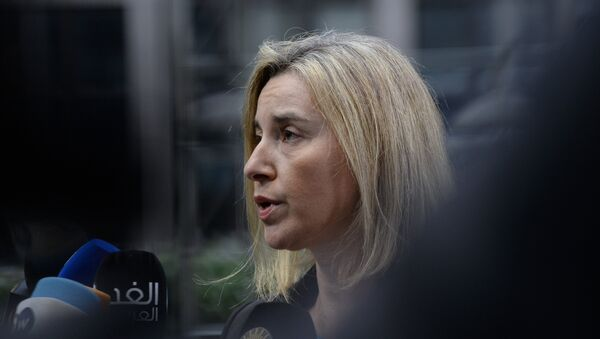 EU foreign policy chief Federica Mogherini speaks to the press - Sputnik International