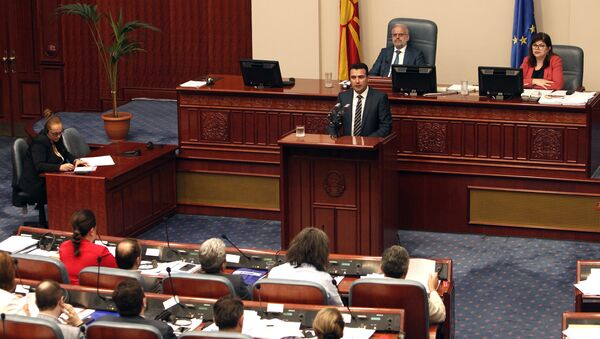 Macedonian Prime Minister Zoran Zeav speaks during a session for the ratification of the deal with Greece, in the parliament in Skopje, Macedonia, Wednesday, June 20, 2018 - Sputnik International
