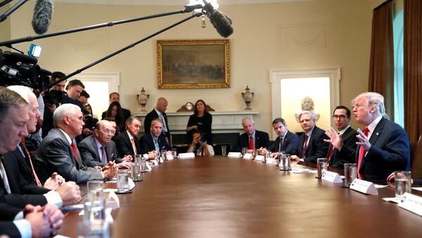 U.S. President Donald Trump participates in a Cabinet meeting, where he discussed immigration policy at the White House in Washington, U.S., June 20, 2018 - Sputnik International