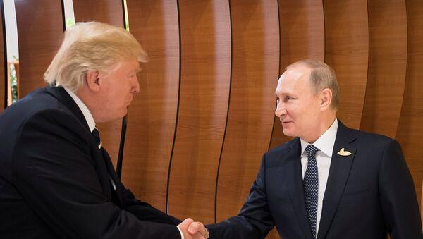 US-Präsident Donald Trump (L) und Russlands Präsident Wladimir Putin (R) während G20-Gipfel (Archivbild) - Sputnik International