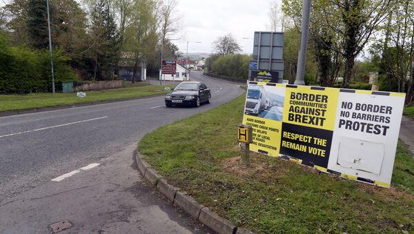 (File) In this photograph taken on April 26, 2017, Brexit posters are pictured at the border crossing at Muff in Co Donegal near Lough Foyle, on the border with Northern Ireland and Donegal in the Republic of Ireland - Sputnik International