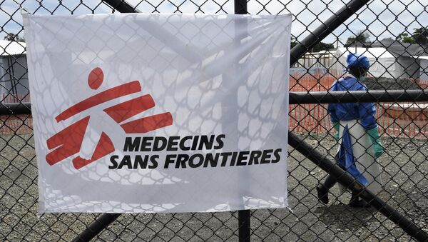 The entrance of the Ebola treatment centre of aid agency Doctors Without Borders, known by its French initials MSF (Medecins Sans Frontieres) on October 3, 2014 where NBC cameraman Ashoka Mukpo, 33, who has been infected with the Ebola virus is being treated - Sputnik International