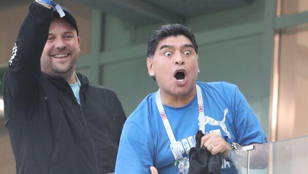 Diego Maradona reacts during the World Cup Group D soccer match between Argentina and Croatia at the Nizhny Novgorod stadium, in Nizhny Novgorod, Russia, June 21, 2018 - Sputnik International