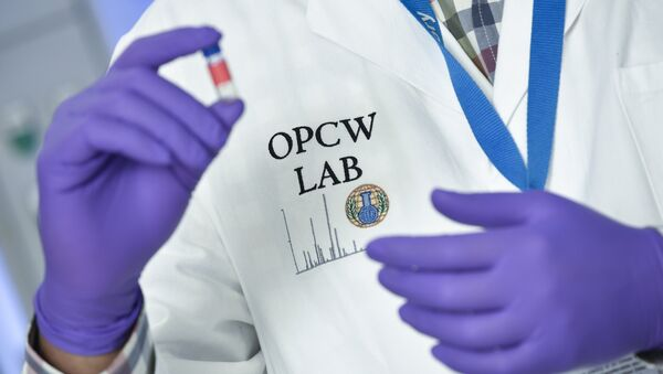 (FILES) In this file photo taken on April 20, 2018 a laboratory technician controls a test vial at the OPCW (The Organisation for the Prohibition of Chemical Weapons) headquarters in the Hague, The Netherlands, on April 20, 2017 - Sputnik International