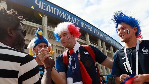 Fans of French national team before a match of a group stage of the FIFA World Cup between the national teams of Denmark and France - Sputnik International