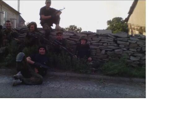 Azov reconnaissance group, Starabeshevo. Sanovsky second from right. - Sputnik International