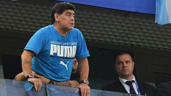 FILE PHOTO: Soccer Football - World Cup - Group D - Nigeria vs Argentina - Saint Petersburg Stadium, Saint Petersburg, Russia - June 26, 2018 Diego Maradona in the stands - Sputnik International