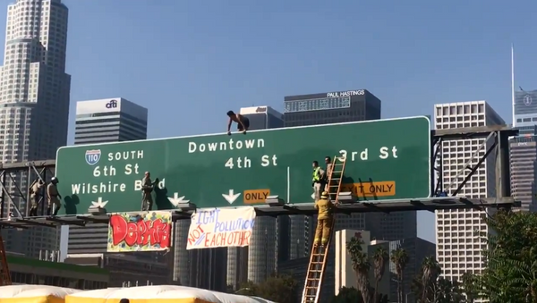California man shuts down southbound lanes of Los Angeles' 110 Freeway after climbing on top of traffic signs - Sputnik International