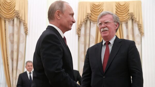 June 27, 2018. Russian President Vladimir Putin and Assistant to the US President for National Security Affairs John Bolton, right, during a meeting in the Kremlin - Sputnik International