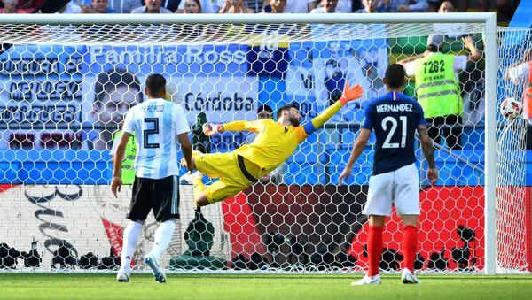 Soccer Football - World Cup - Round of 16 - France vs Argentina - Kazan Arena, Kazan, Russia - June 30, 2018 France's Hugo Lloris concedes as Argentina's Angel Di Maria scores their first goal - Sputnik International